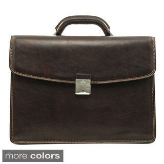 Tony Perotti Tuscany 16-inch Laptop Triple Compartment Leather Briefcase