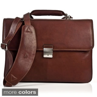 Tony Perotti Verona Triple Compartment Italian Leather Briefcase
