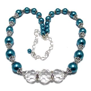 Teal Blue Glass Pearl and Clear Crystal 4-piece Wedding Jewelry Set