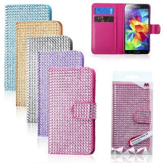 INSTEN With Diamonds Card Slot Book-style Leather Phone Case Cover for Samsung Galaxy S5/ SV