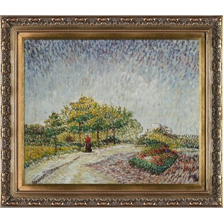 Vincent Van Gogh 'Lane in the Argenson Park at Asnieres Spring' Hand Painted Framed Canvas Art
