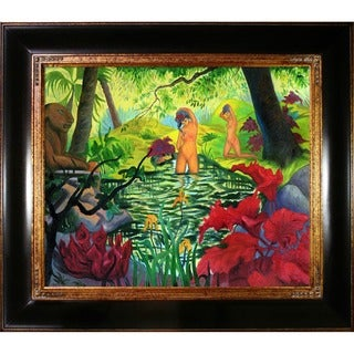Paul-Elie Ranson 'The Bathing Place or Lotus' Hand Painted Framed Canvas Art