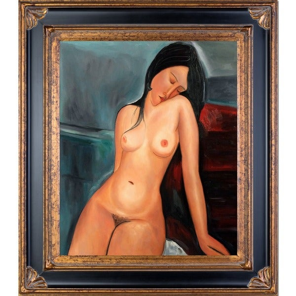 Amedeo Modigliani 'Female Nude' Hand Painted Framed Canvas Art 13008055
