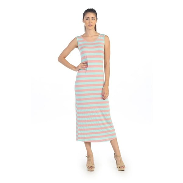 Hadari Women's Pink and Mint Striped Maxi Dress