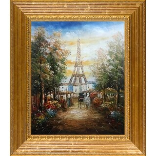 Gardens Near The Eiffel' Hand Painted Framed Canvas Art