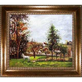 Camille Pissarro 'Landscape with a White Horse in a Meadow' Hand Painted Framed Canvas Art