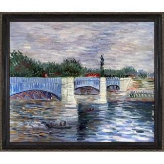Vincent Van Gogh 'The Seine With the Pont de la Grande Jatte Summer' Hand Painted Framed Canvas Art