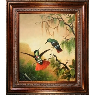 Martin Johnson Heade 'Two Hooded Visorbearer Hummingbirds' Hand Painted Framed Canvas Art