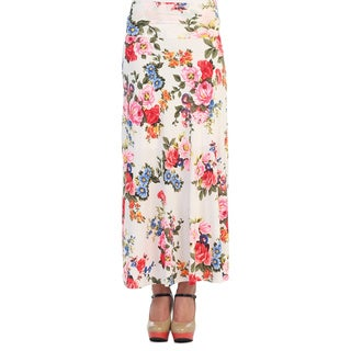 Hadari Women's Multicolored Floral Print Maxi Skirt