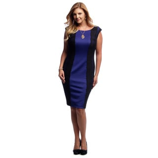 Alex Evenings Women's Black and Royal Blue Knee-length Cocktail Dress