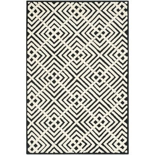 Safavieh Hand-hooked Newport Black/ White Cotton Rug (5'6 x 8'6)