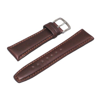 Hadley Roma Oil Tan Leather Brown Watch Strap with Stitched Trim