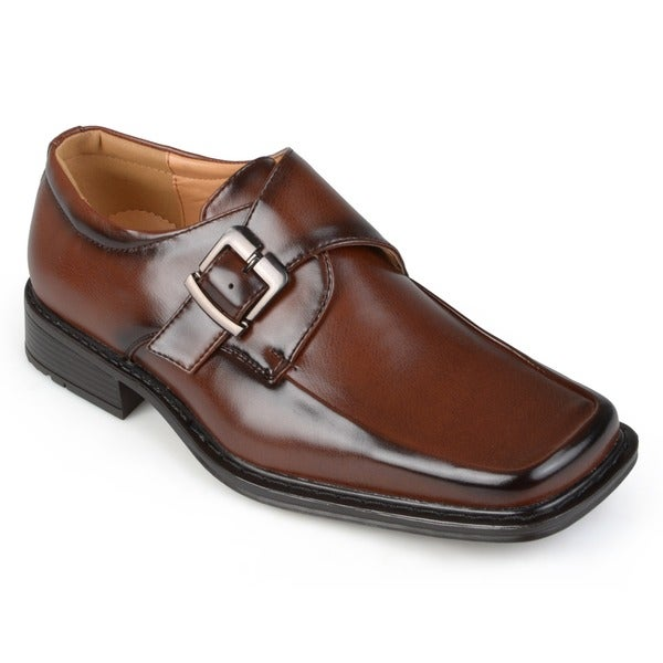 Boston Traveler Men's Square Toe Buckle Detail Loafers