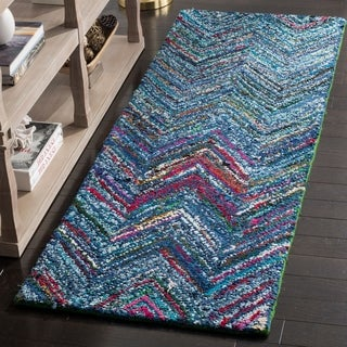 Safavieh Handmade Nantucket Blue/ Multi Cotton Rug (2'3 x 8')