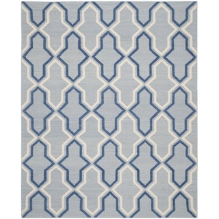 Safavieh Hand-woven Moroccan Reversible Dhurries Light Blue/ Dark Blue Wool Rug (9' x 12')