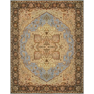 Hand-knotted Heriz Serapi Blue Brown Vegetable Dyes Wool Rug (4' x 6')