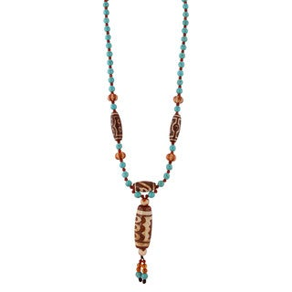 Gardenia Jewelry Turqouise Blue Carnelian and Barrel-shaped Beaded Tassel Necklace