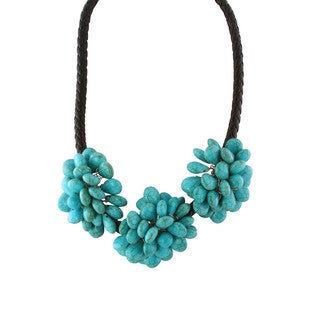 Gardenia Jewelry Blue Turquoise Black Leather Cluster Necklace