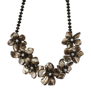 Gardenia Jewelry Black/ Beige Mother of Pearl Floral Crystal Necklace