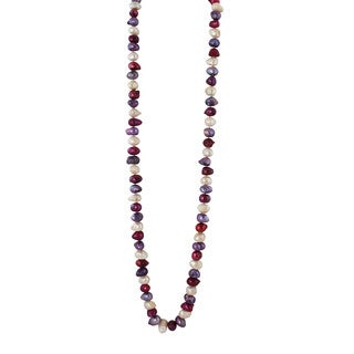 Gardenia Jewelry Multi-colored Purple and Fuchsia Freshwater Pearl Necklace