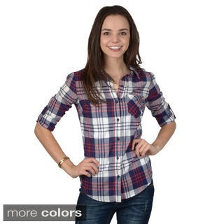 Hailey Jeans Co. Junior's Plaid Button-up Top