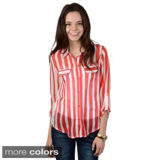Hailey Jeans Co. Junior's Striped Button-up Top