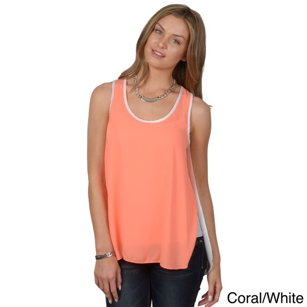 Hailey Jeans Co. Junior's Split Side Sleeveless Chiffon Top