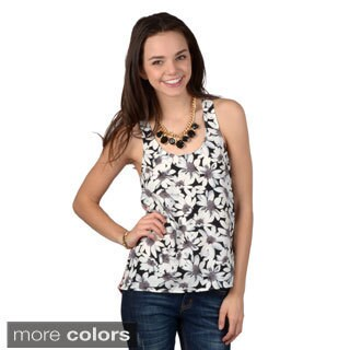 Hailey Jeans Co. Junior's Sleeveless Flower Print Racerback TankTop