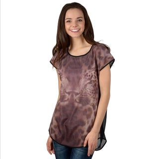 Hailey Jeans Co. Junior's Leopard Print Cut-out Back Top