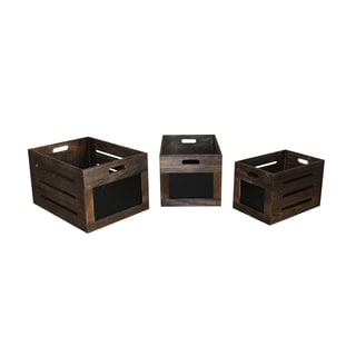 Distressed Wooden Chalkboard Boxes (Set of 3)