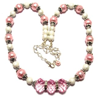 Pink/ White Moonscape Glass Pearl and Crystal 4-piece Wedding Jewelry Set