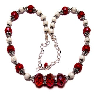 Siam Red/ White Moonscape Glass Pearl and Crystal 4-piece Wedding Jewelry Set