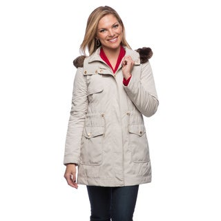 Ellen Tracy Anorak Techno Parka with Faux Fur HD and Stationary Quilted Liner