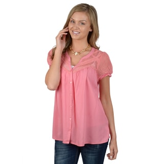 Hailey Jeans Co. Junior's Crochet Detail Button-up Top