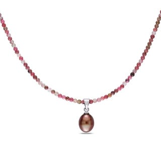 Miadora Sterling Silver Brown Pearl and Rhodolite Bead Necklace (8.5-9 mm) with Bonus Earrings