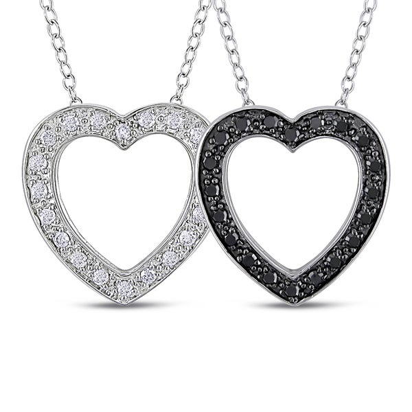 Haylee Jewels Sterling Silver 2-pc Set of 1/4ct Black and White Diamond Heart Necklace