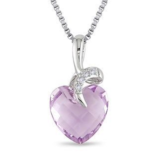 Miadora Sterling Silver 3 1/6ct TGW Amethyst and Diamond Accents Heart Necklace