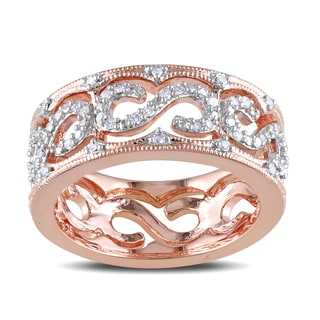 Haylee Jewels Rose Plated Silver 1/4ct TDW Diamond Ring (H-I, I2-I3)