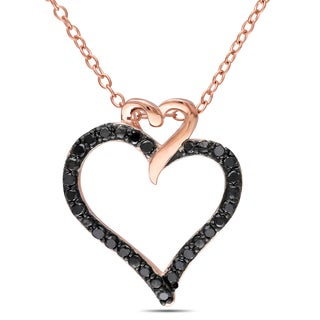 M by Miadora Rose Plated Silver 1/4ct TDW Black Diamond Heart Necklace