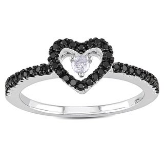 Haylee Jewels Sterling Silver 1/4ct TDW Black and White Diamond Heart Ring (H-I, I2-I3)