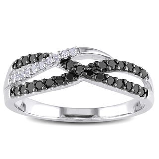 Haylee Jewels Sterling Silver 1/3ct TDW Black and White Diamond Ring (H-I, I2-I3)