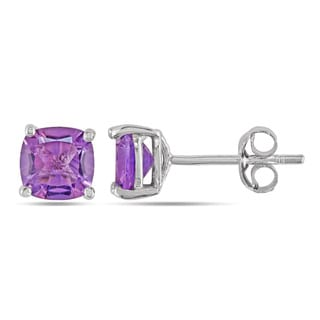 Miadora Sterling Silver 2ct TGW Amethyst Stud Earrings