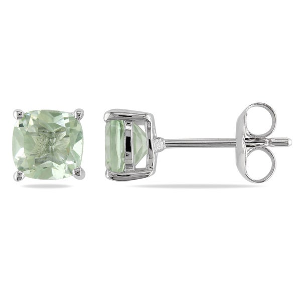 Miadora Sterling Silver 2ct TGW Green Amethyst Solitaire Earring