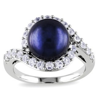 Miadora Sterling Silver Pearl and Created White Sapphire Halo Ring (10-10.5 mm)