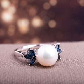 Miadora 10k White Gold Freshwater Pearl, Diamond and Sapphire Ring (9-9.5 mm)