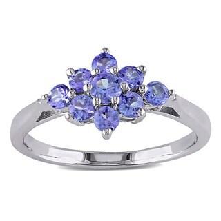 Miadora Sterling Silver Tanzanite Cluster Ring