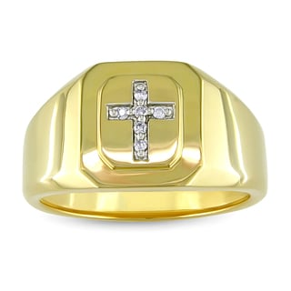 Yellow Plated Silver Diamond Accent Men's Cross Ring