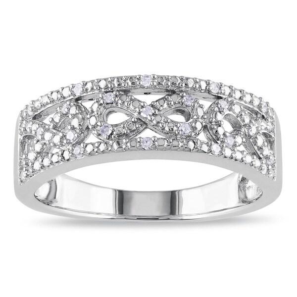 Miadora Sterling Silver 1/10ct TDW Diamond Infinity Ring (H-I, I2-I3)