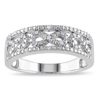 Haylee Jewels Sterling Silver 1/10ct TDW Diamond Infinity Ring (H-I, I2-I3)