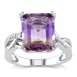 Miadora Sterling Silver 5 1/4ct TGW Ametrine and Diamond Accent Cocktail Ring